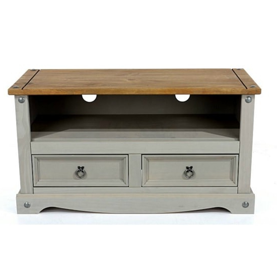 Dove Wooden Tv Stand In Grey With 2 Drawers 33695 Furniture Regarding Best And Newest Penelope Dove Grey Tv Stands (View 6 of 10)