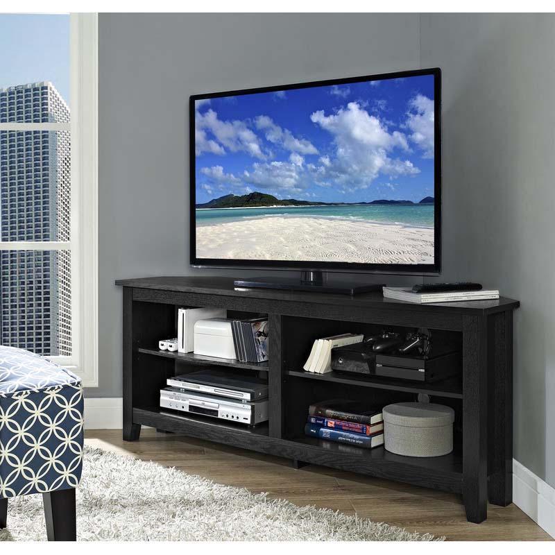 Edgeware Black Tv Stands Within Widely Used Walker Edison Essentials 60 Inch Corner Tv Stand Matte (View 2 of 10)