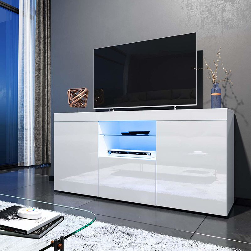 Elegant 1350mm Modern High Gloss Tv Stand Cabinet With Intended For Well Known Milano White Tv Stands With Led Lights (View 5 of 25)