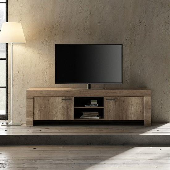 Ellie Wooden Tv Stand Wide In Canyon Oak With 2 Doors With Regard To Preferred Canyon Oak Tv Stands (View 1 of 10)