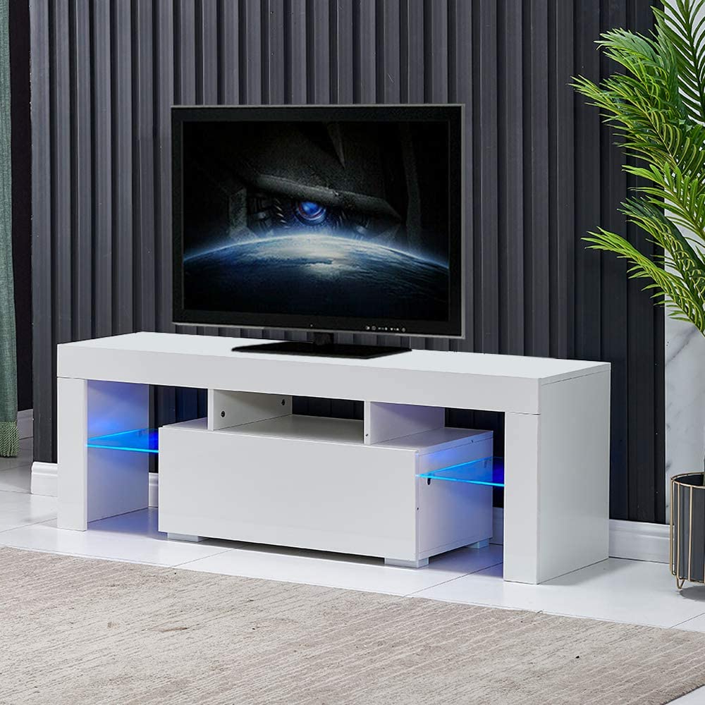 Entertainment Center For Tvs, Modern White Tv Stand With For Well Known Milano White Tv Stands With Led Lights (View 4 of 25)
