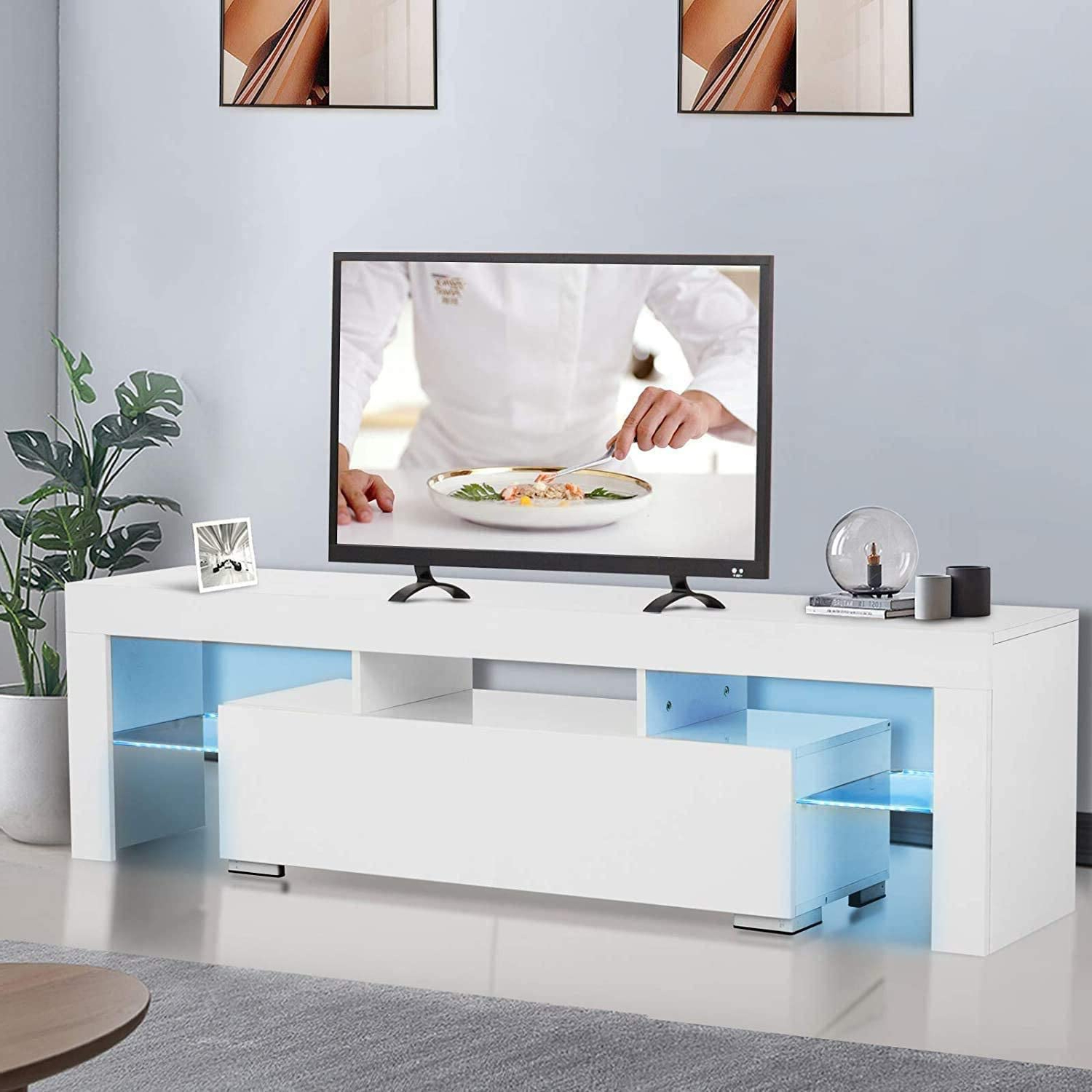 Entertainment Center For Tvs, Modern White Tv Stand With In Famous Hannu Tv Media Unit White Stands (View 7 of 10)
