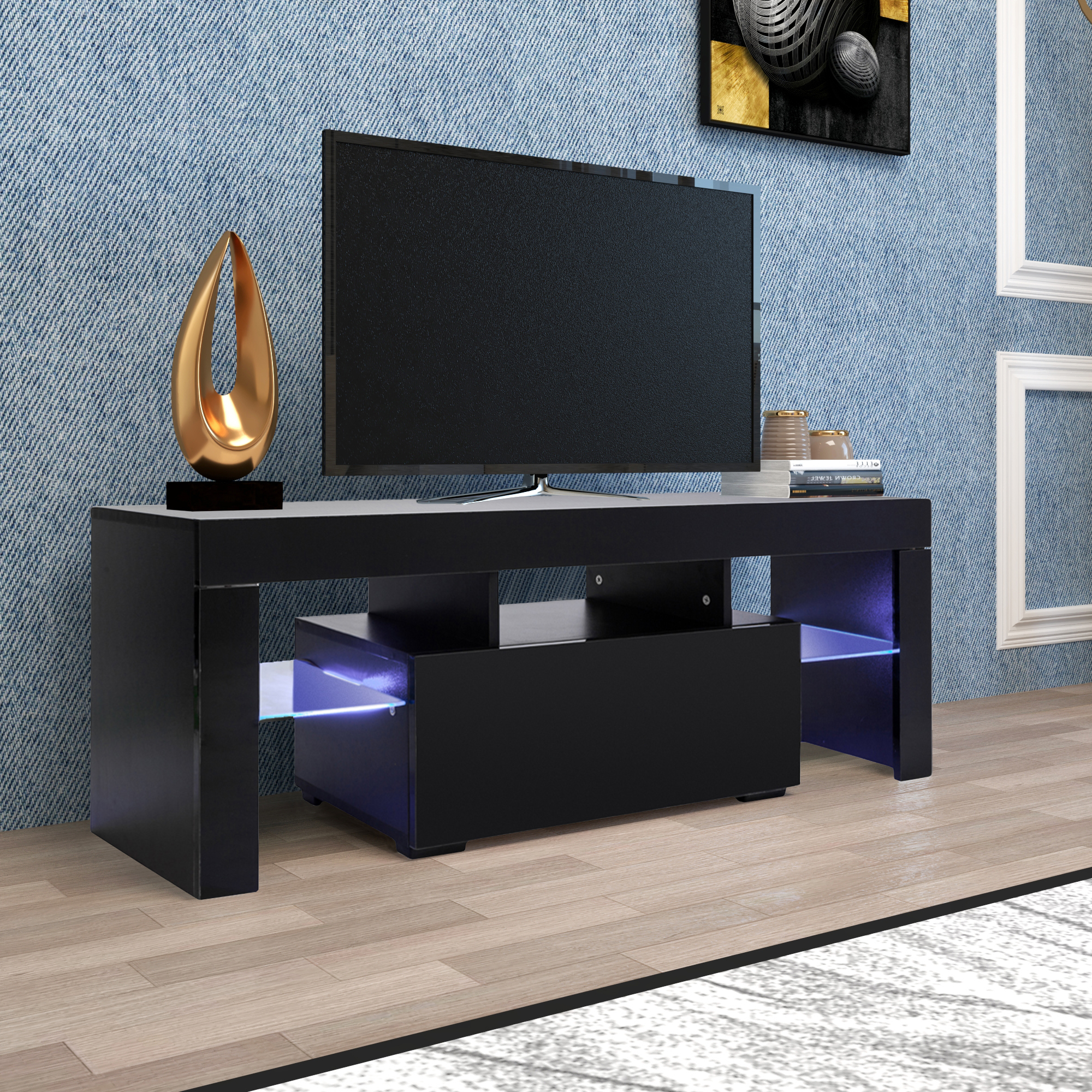 Entertainment Centers And Tv Stands, Yofe Tv Stand With With Regard To Most Current 57'' Led Tv Stands Cabinet (View 9 of 10)