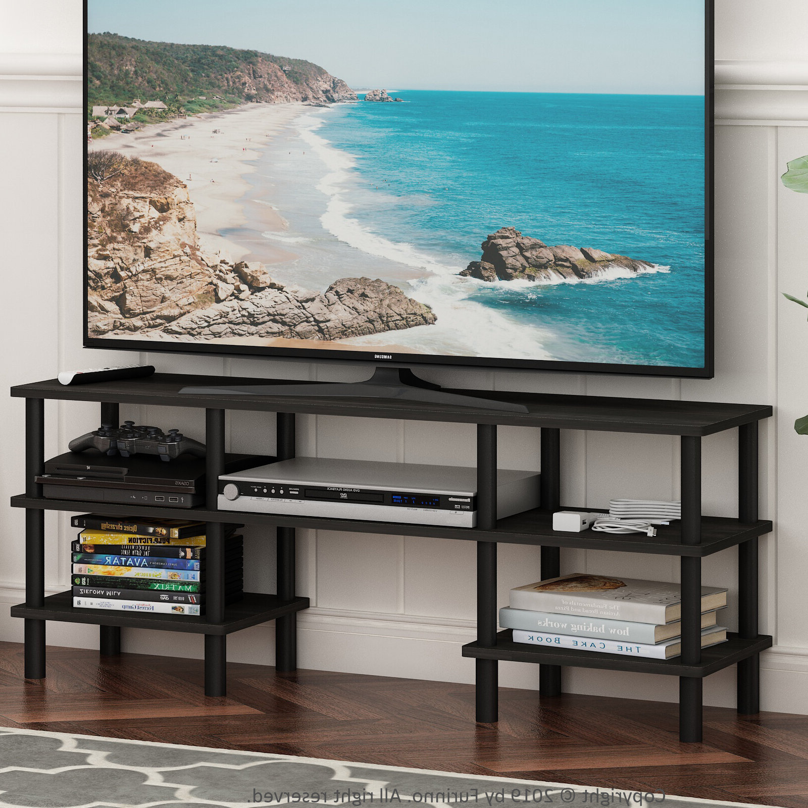Espresso/black Furinno Turn N Tube 4 Tier Multipurpose In Newest Tier Entertainment Tv Stands In Black (View 8 of 10)