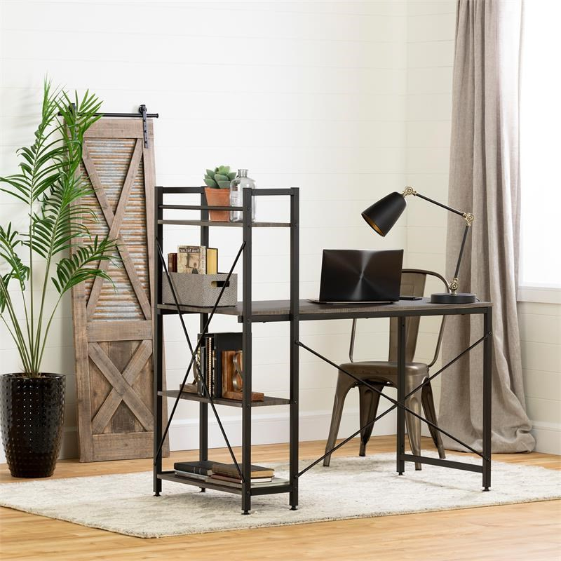 Evane Industrial Desk With Bookcase  Oak Camel South Shore Throughout Fashionable South Shore Evane Tv Stands With Doors In Oak Camel (View 8 of 10)