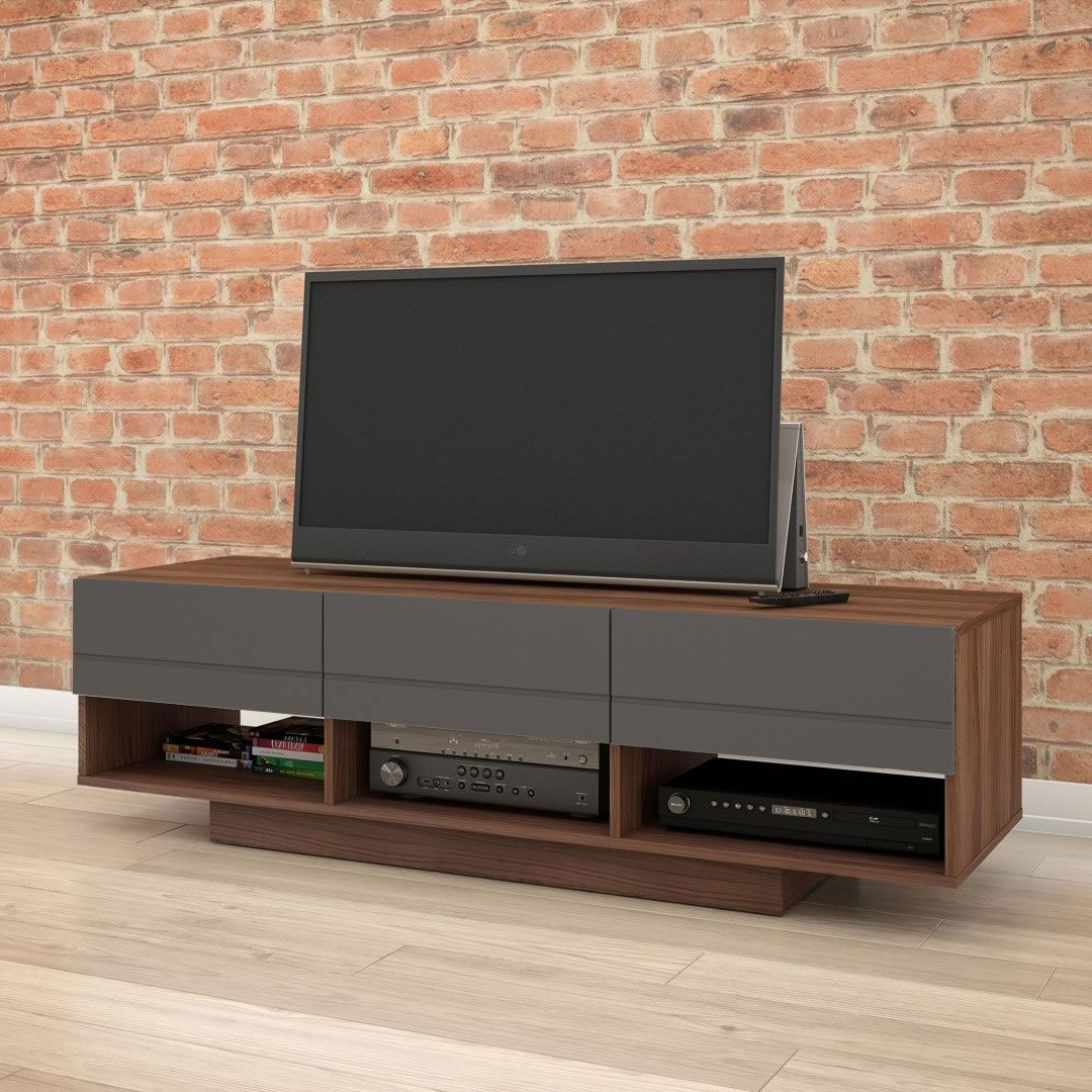 """Evelynn Tv Stands For Tvs Up To 60"""" For Most Up To Date Nexera Radar Tv Stand 60 Inch (walnut & Charcoal) – Nx (View 24 of 25)"""