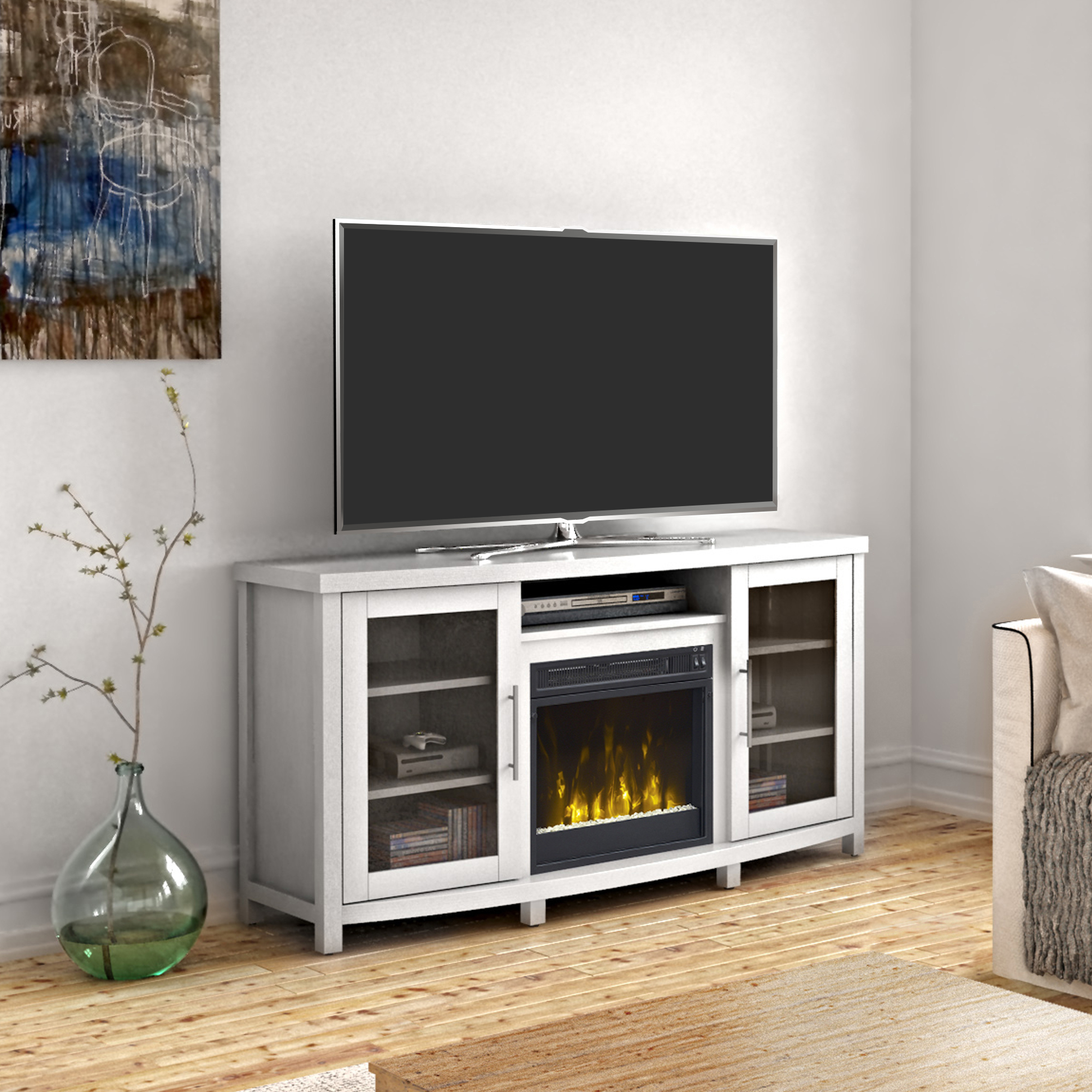 """Evelynn Tv Stands For Tvs Up To 60"""" In Trendy Sea Meadow White Tv Stand For Tvs Up To 60"""" With Electric (View 20 of 25)"""