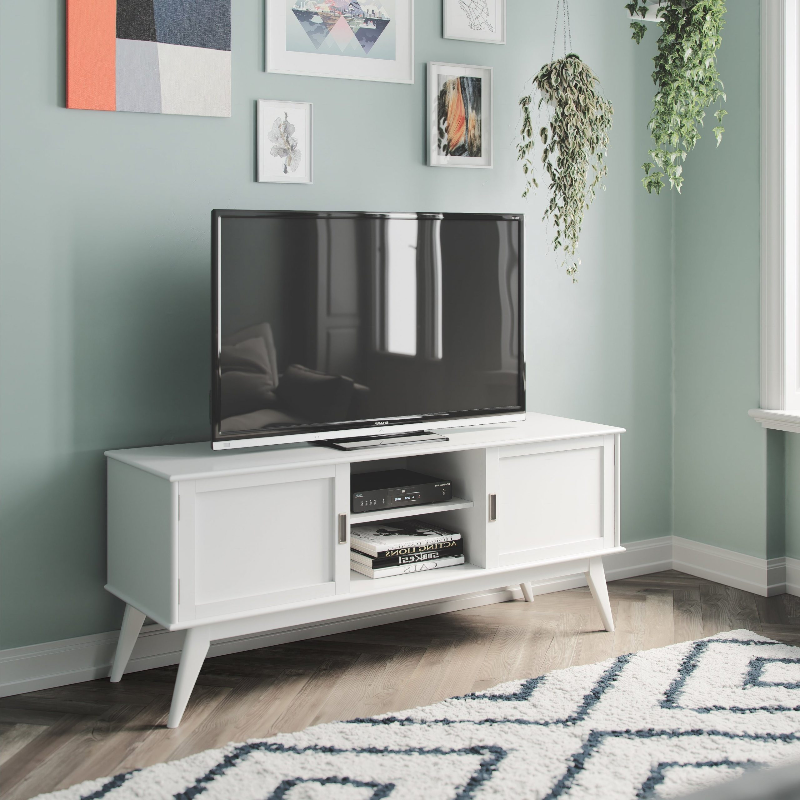 """Evelynn Tv Stands For Tvs Up To 60"""" Intended For Most Current Wyndenhall Tierney Solid Hardwood 60 Inch Wide Mid Century (View 7 of 25)"""