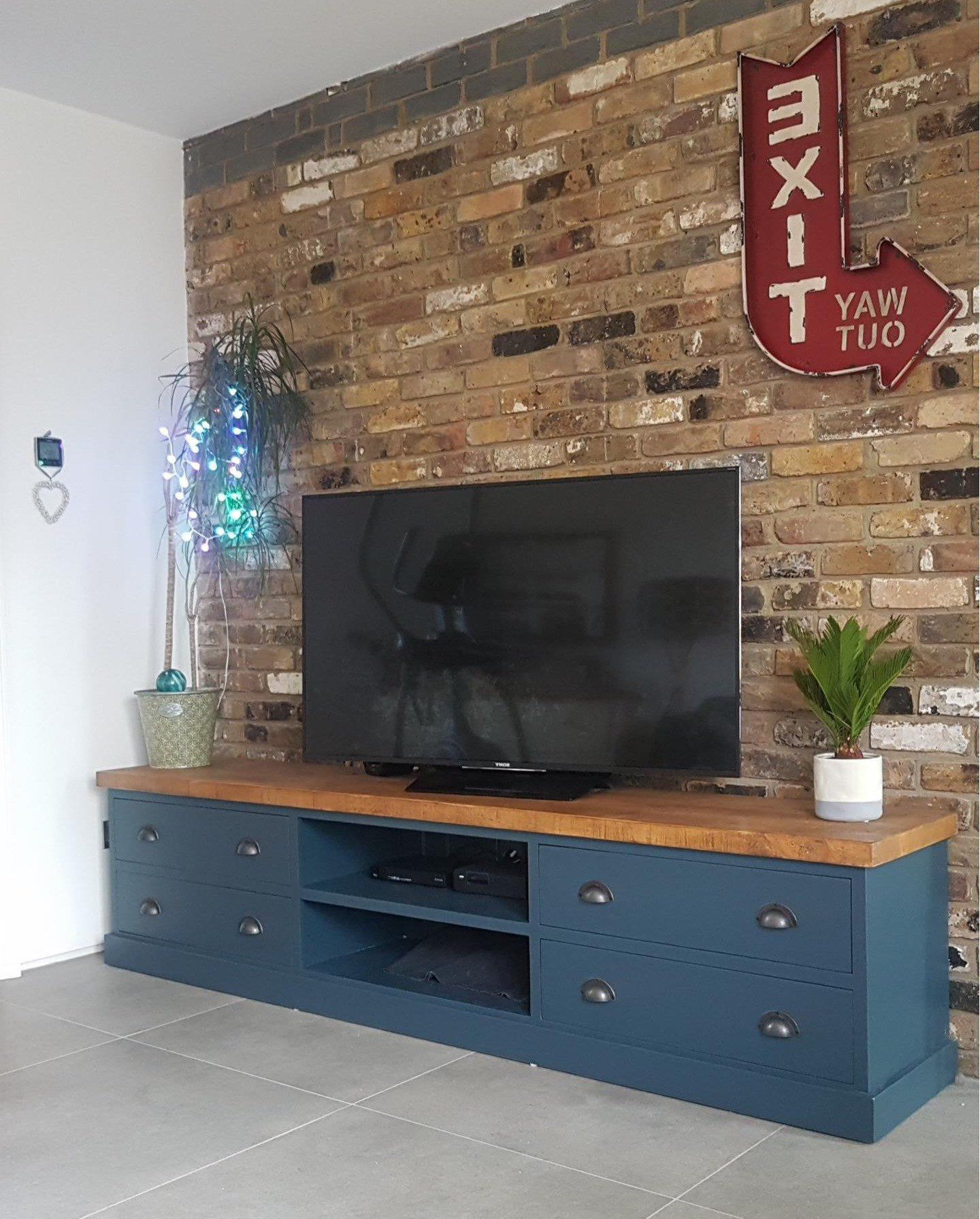Extra Large Wide Rustic Painted Solid Wood Tv Media Unit With Preferred Bromley Blue Wide Tv Stands (View 6 of 10)