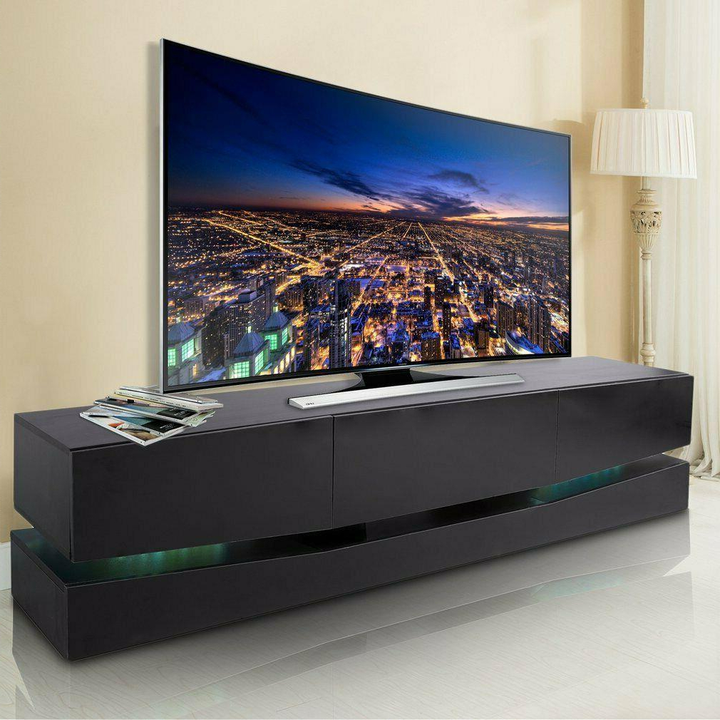 """Ezlynn Floating Tv Stands For Tvs Up To 75"""" Within Favorite High Gloss Rgb Led Light Floating Tv Stand Unit Console (View 19 of 25)"""
