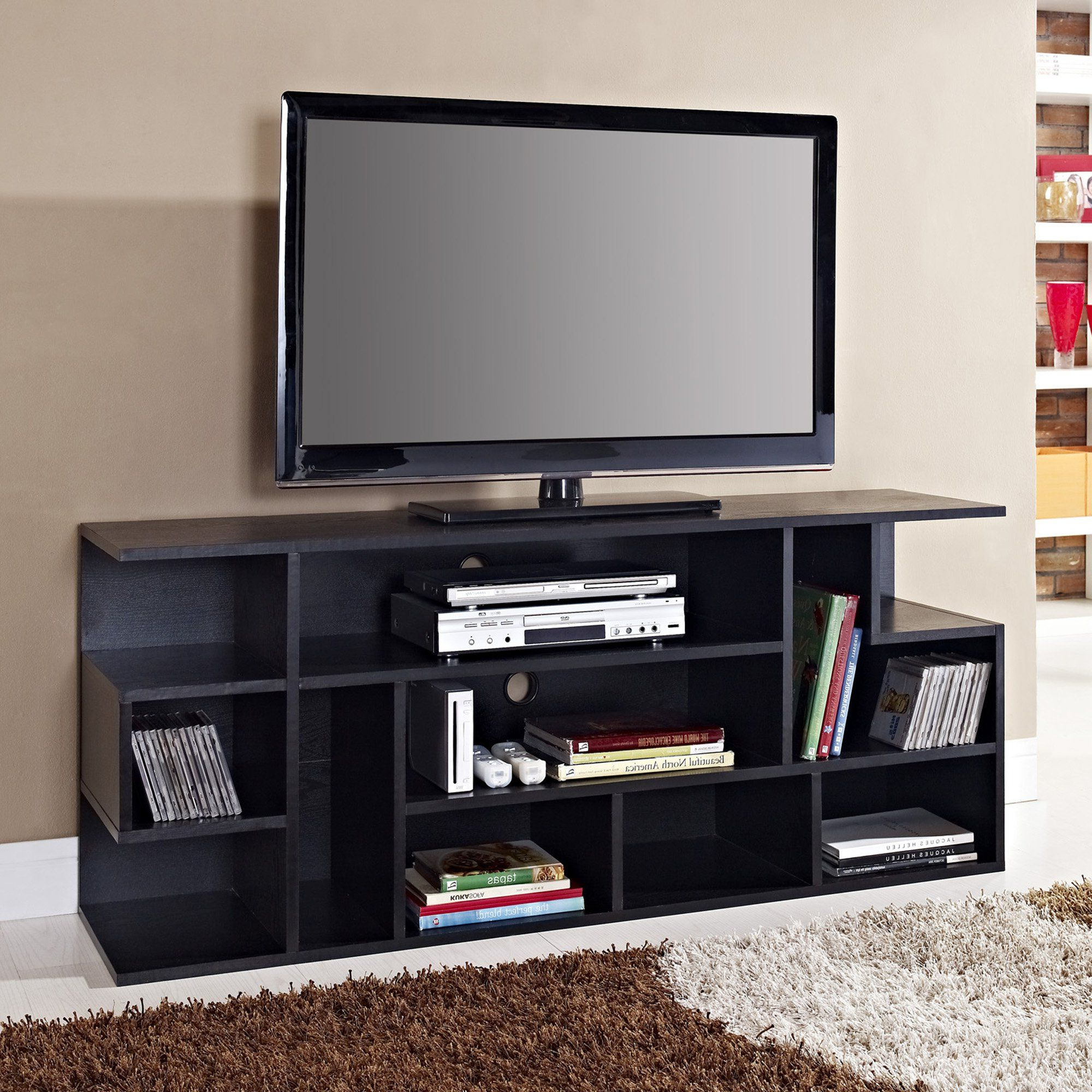 Famous Amazon – We Furniture Wood Modern Style Tv Stand, 60 Intended For Modern Black Floor Glass Tv Stands With Mount (View 3 of 10)