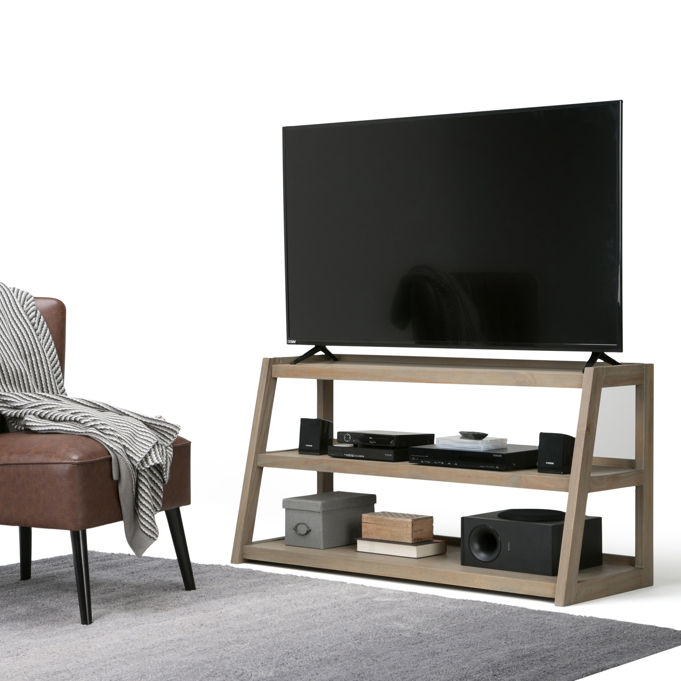 """Famous Antea Tv Stands For Tvs Up To 48"""" Inside Wyndenhall Hawkins Solid Wood 48 Inch Wide Modern (View 17 of 25)"""