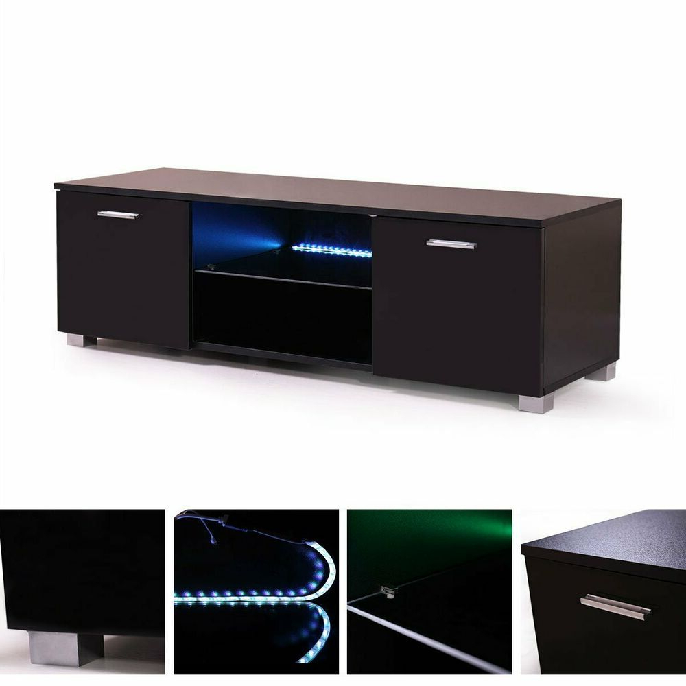 Famous Black Modern Led Tv Cabinet 63'' High Gloss Stand With Regard To 57'' Led Tv Stands With Rgb Led Light And Glass Shelves (View 1 of 10)
