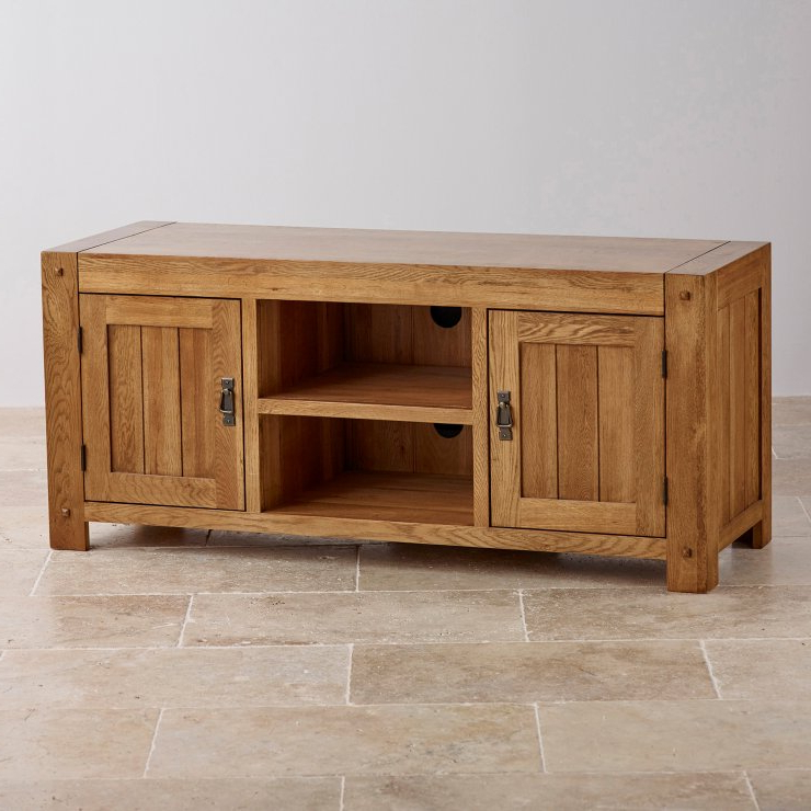 Famous Bromley Extra Wide Oak Tv Stands With Regard To Quercus Wide Tv Cabinet In Rustic Solid Oak (View 18 of 25)