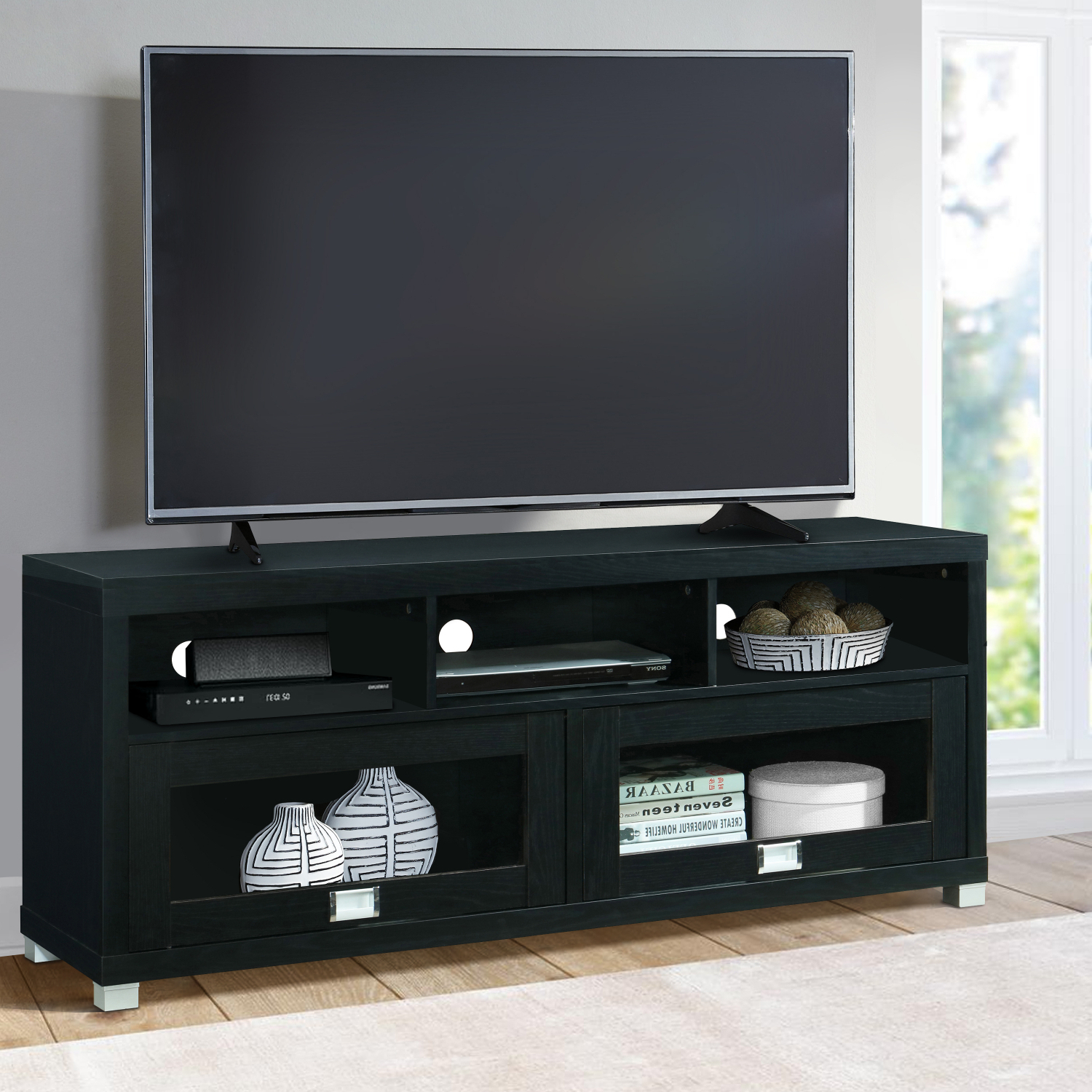"""Famous Chrissy Tv Stands For Tvs Up To 75"""" Throughout Tv Stand Entertainment Table Wood Finish Furniture 58 Inch (View 2 of 25)"""