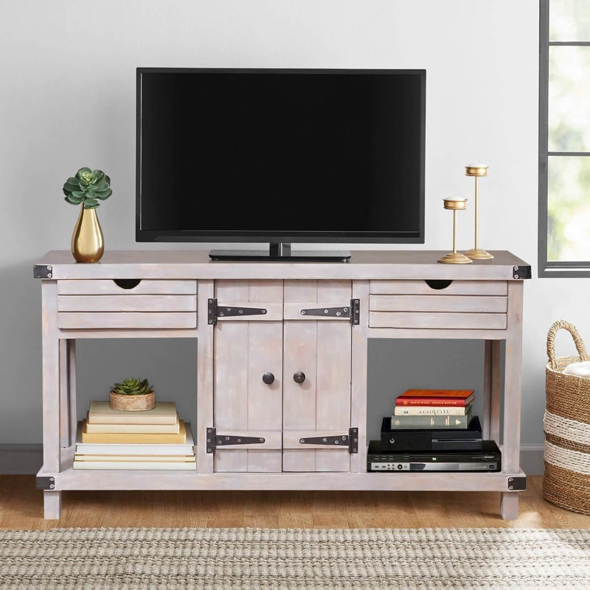 Famous Gibsland Reclaimed Wood 2 Drawer Media Console Tv Stand Table Regarding Manhattan 2 Drawer Media Tv Stands (View 2 of 25)