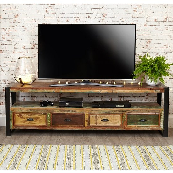 Famous London Urban Chic Wooden Large Tv Stand With 4 Drawers Within Tv Stands With Drawer And Cabinets (View 4 of 10)