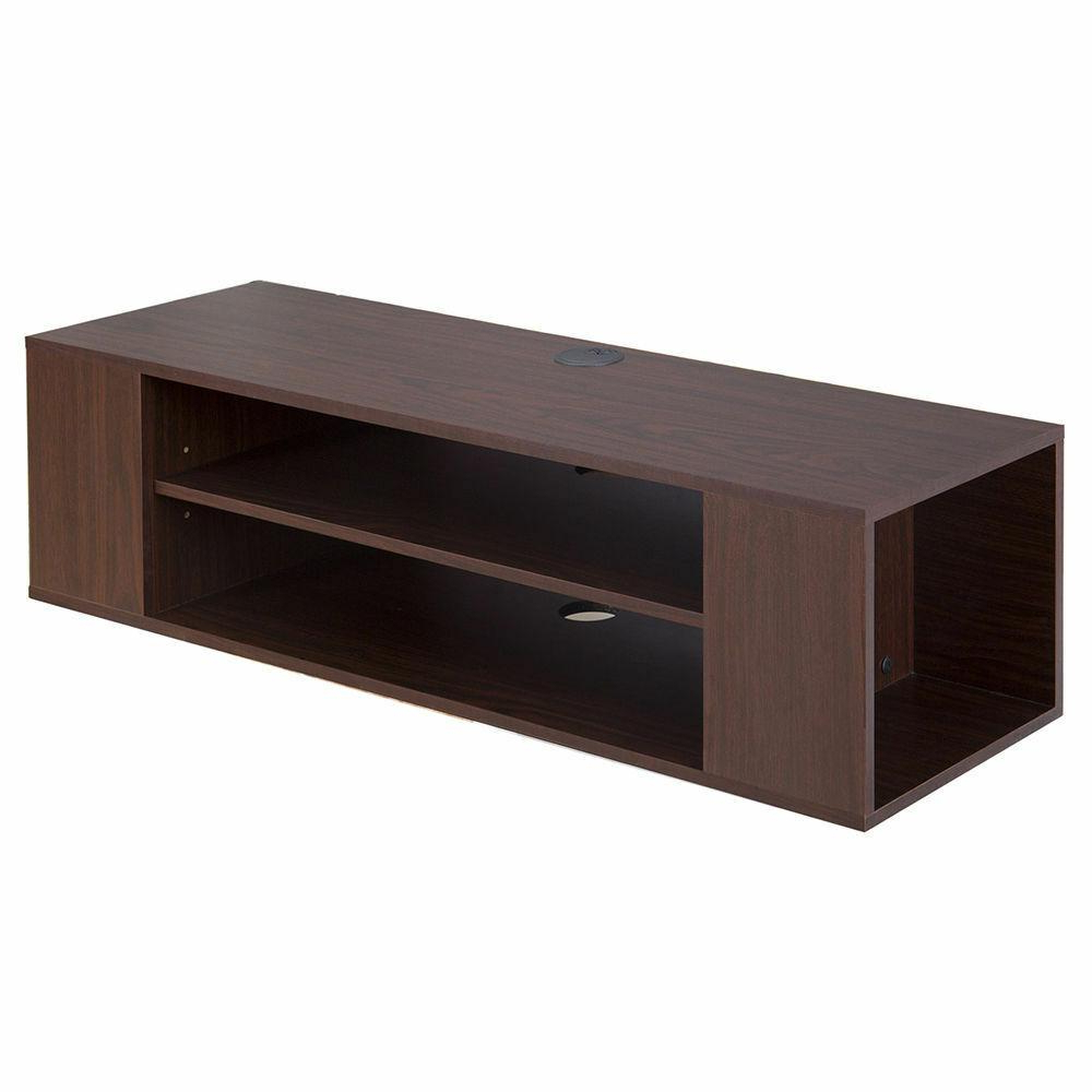 Famous Mainstays Payton View Tv Stands With 2 Bins For Fitueyes Wood Floating Shelves Wall Mount Media Center (View 4 of 10)