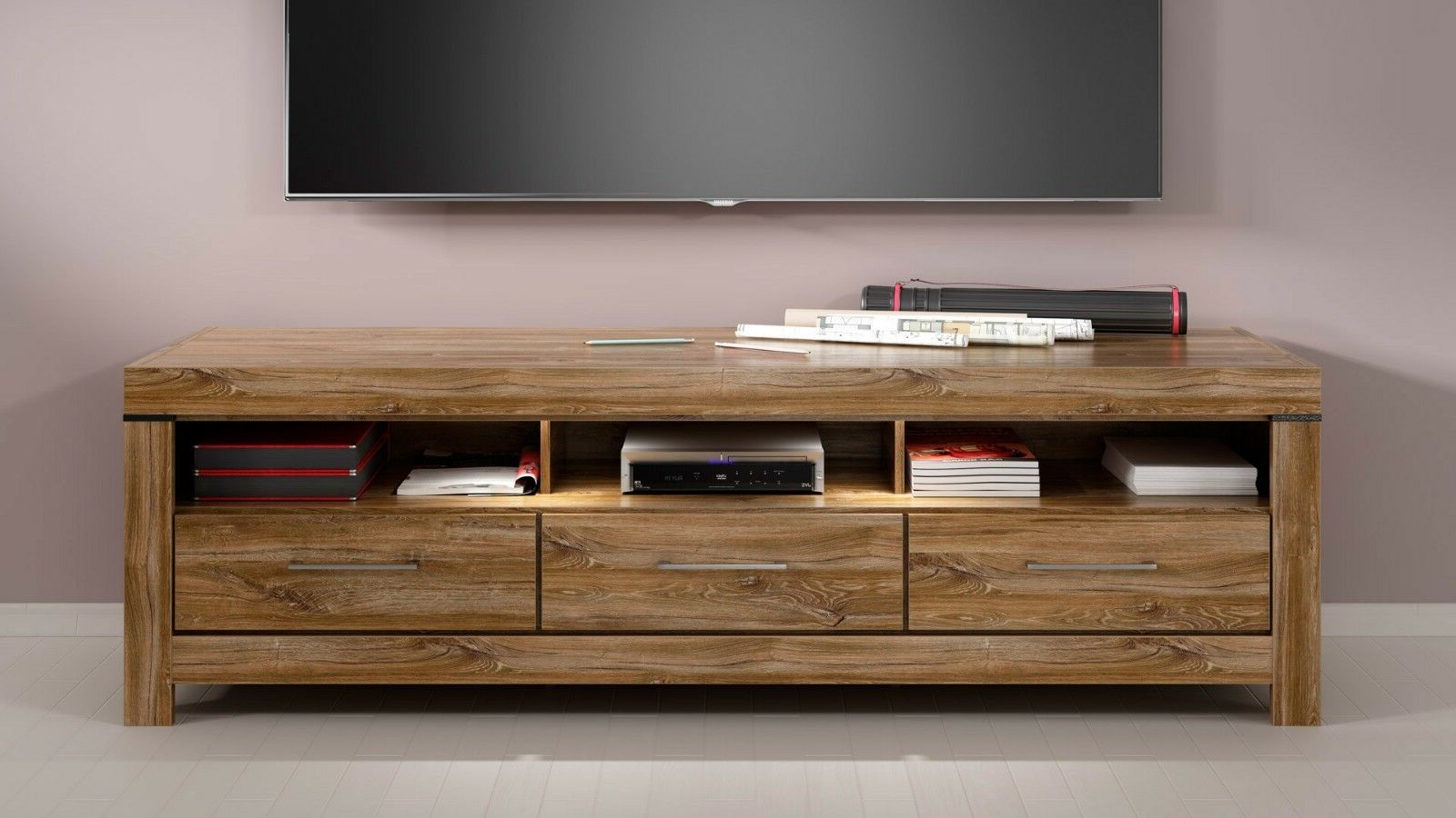 Famous Modern Tv Cabinet Unit Led Light 3 Drawers Oak Effect Tv With Regard To Fulton Oak Effect Wide Tv Stands (View 3 of 10)
