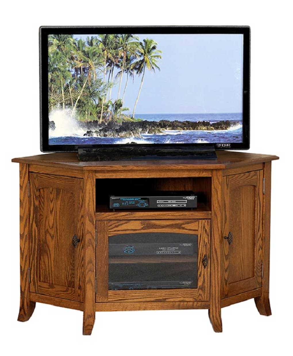 Famous Priya Corner Tv Stands Throughout Young Mission Style #35 Corner Tv Stand – Amish Direct (View 6 of 25)
