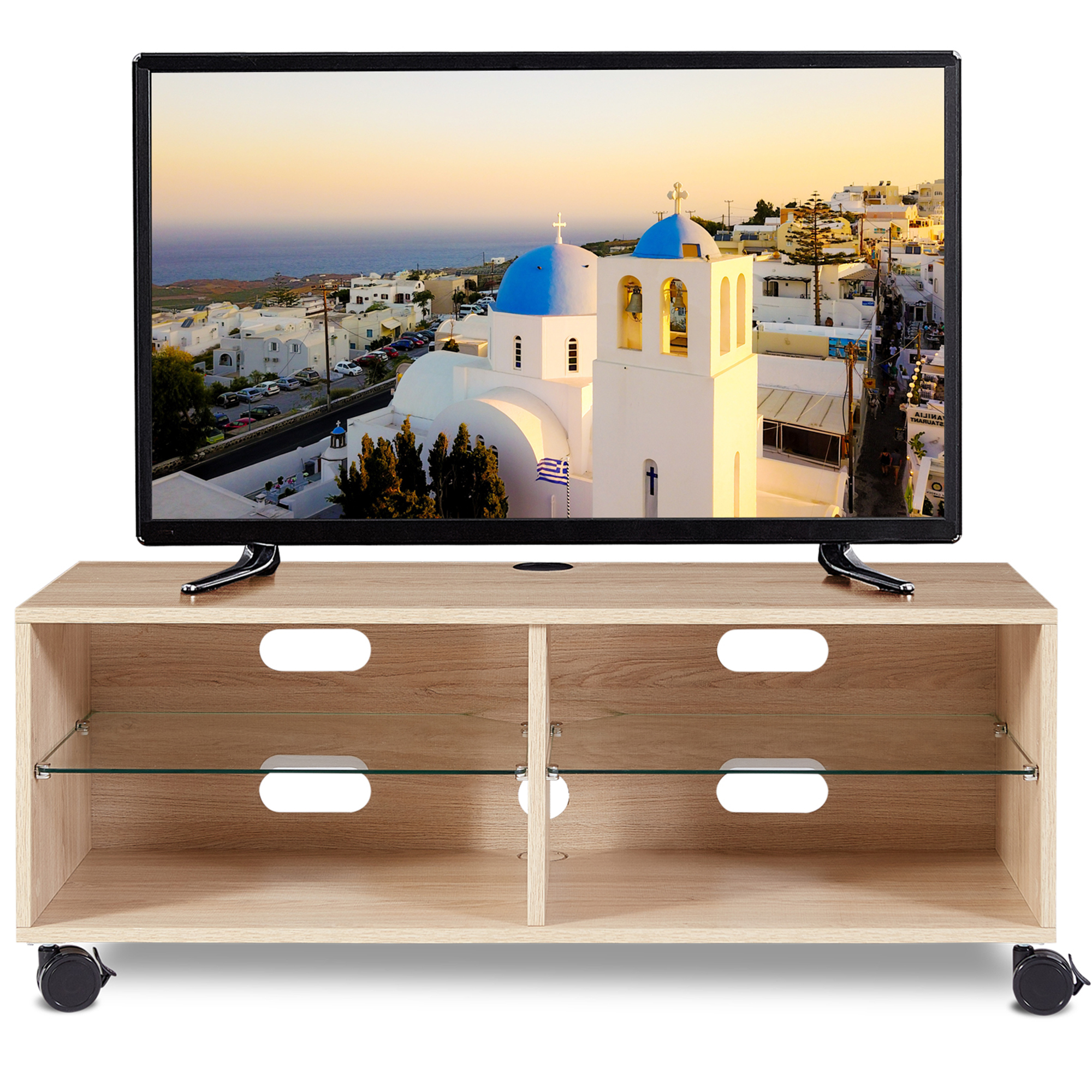 Famous Rustic Country Tv Stands In Weathered Pine Finish With Rfiver Rustic Oak Wood Tv Stand For 26 To 50 Inch Tvs Oak (View 8 of 10)