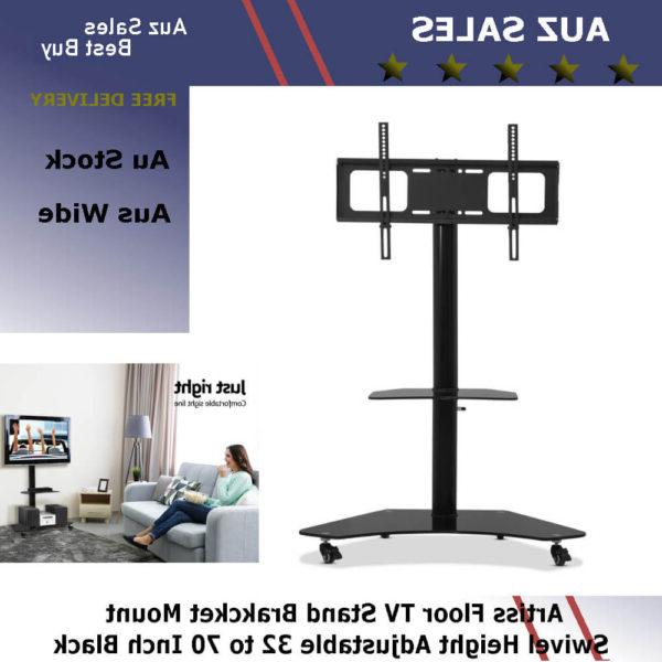 Famous Swivel Floor Tv Stands Height Adjustable Within Artiss Floor Tv Stand Brakcket Mount Swivel Height (View 9 of 10)