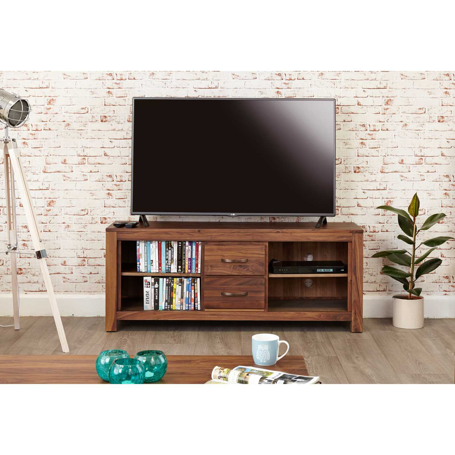Famous Tv Stands With 2 Open Shelves 2 Drawers High Gloss Tv Unis Regarding Solid Walnut Widescreen Television Cabinet Tv Media Unit (View 7 of 10)