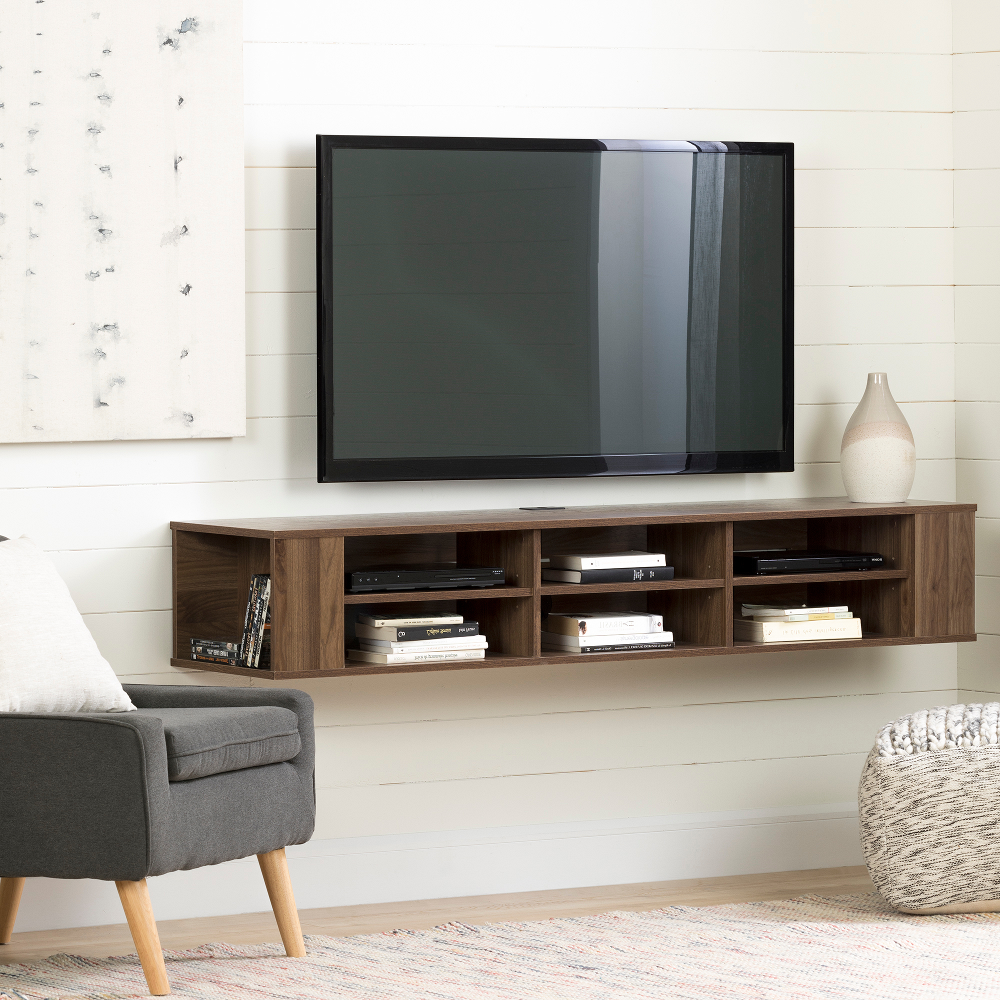 """Famous Tv Stands With Led Lights In Multiple Finishes Pertaining To South Shore City Life 66"""" Wall Mounted Tv Stand, Multiple (View 9 of 10)"""