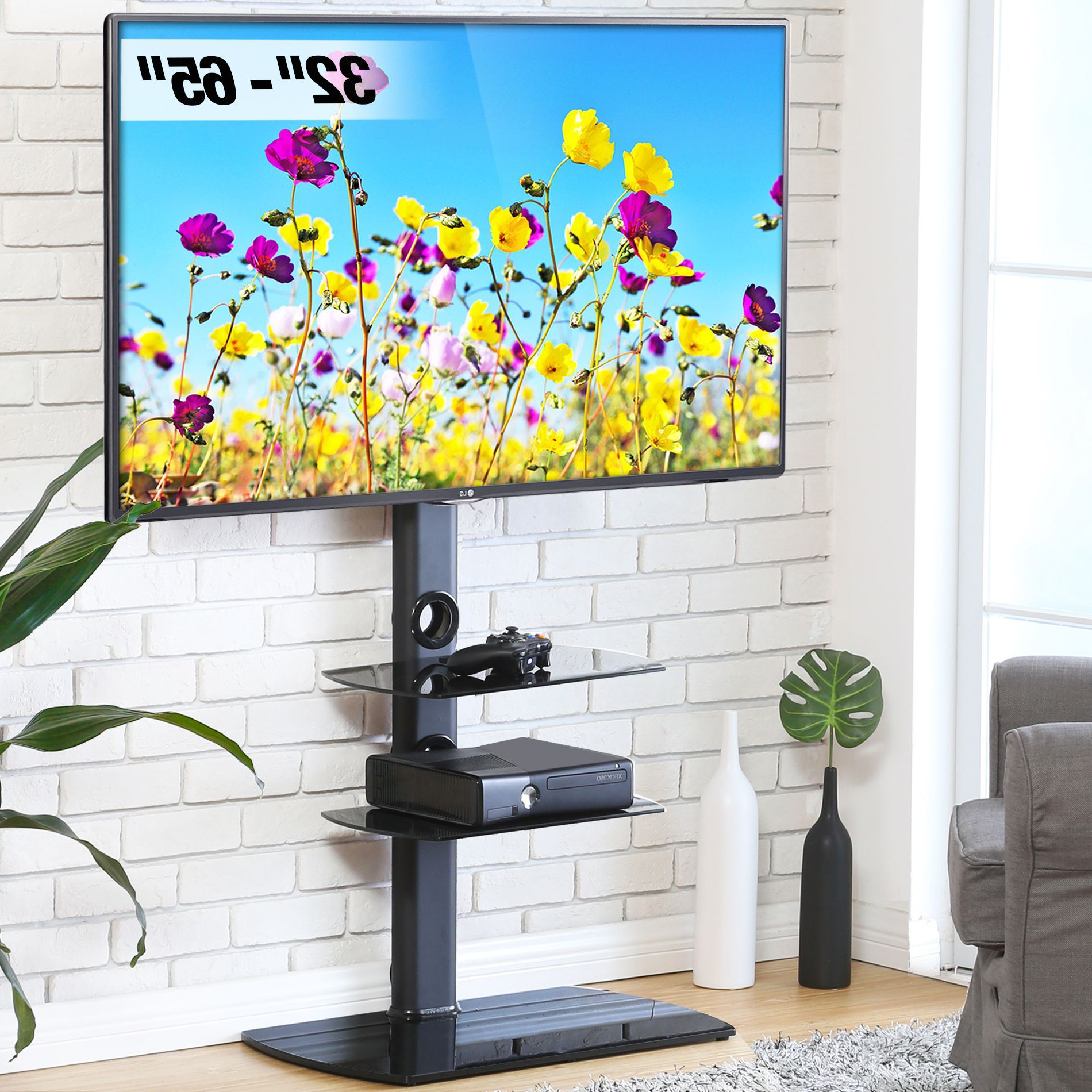 """Famous Wolla Tv Stands For Tvs Up To 65"""" Regarding Fitueyes Floor Tv Stand With Wires/cable Management For  (View 18 of 25)"""