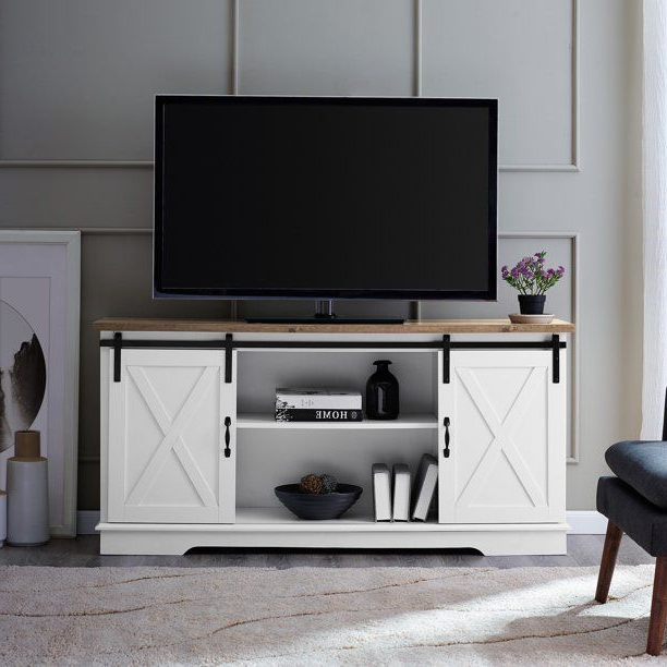 """Famous Woven Paths Franklin Grooved Two Door Tv Stands Pertaining To White Rustic Oak Barn Door Tv Stand For Tvs Up To 64"""" (View 5 of 10)"""