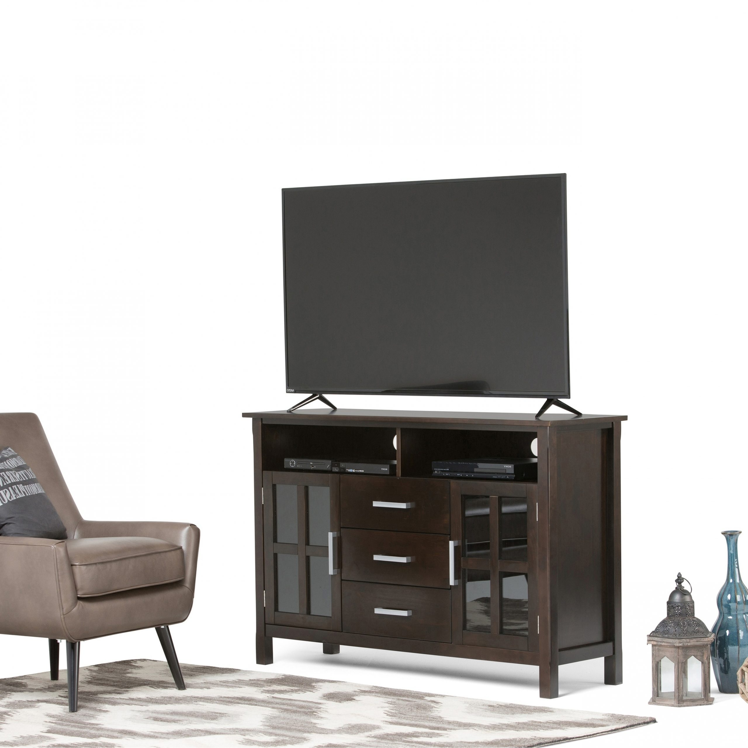 """Famous Wyndenhall Waterloo Solid Wood 53 Inch Wide Contemporary Inside Baba Tv Stands For Tvs Up To 55"""" (View 25 of 25)"""