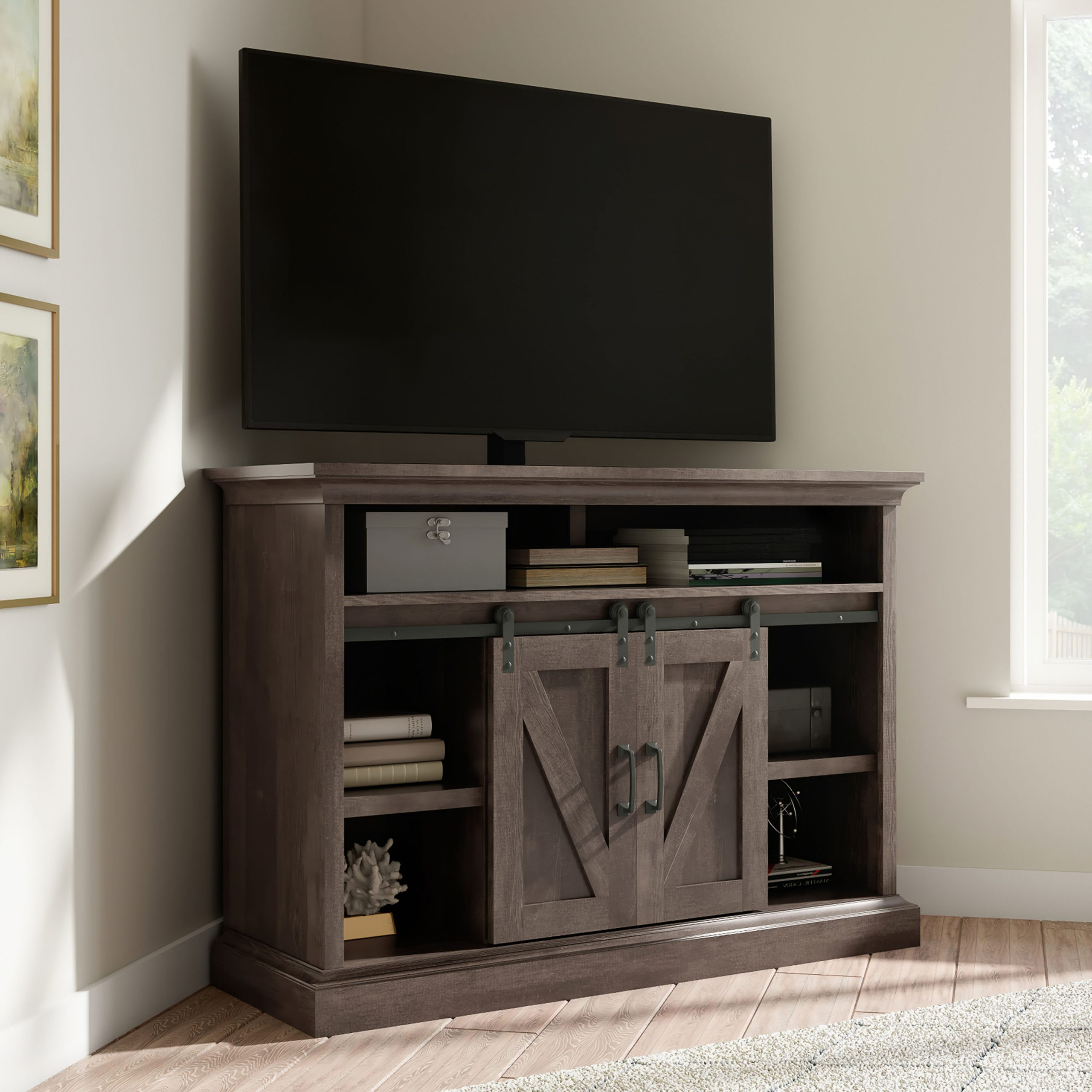 """Farmhouse Sliding Barn Door Tv Stands For 70 Inch Flat Screen Inside Most Current Whalen Allston Barn Door Corner Tv Stand For 55"""" Tvs (View 4 of 10)"""