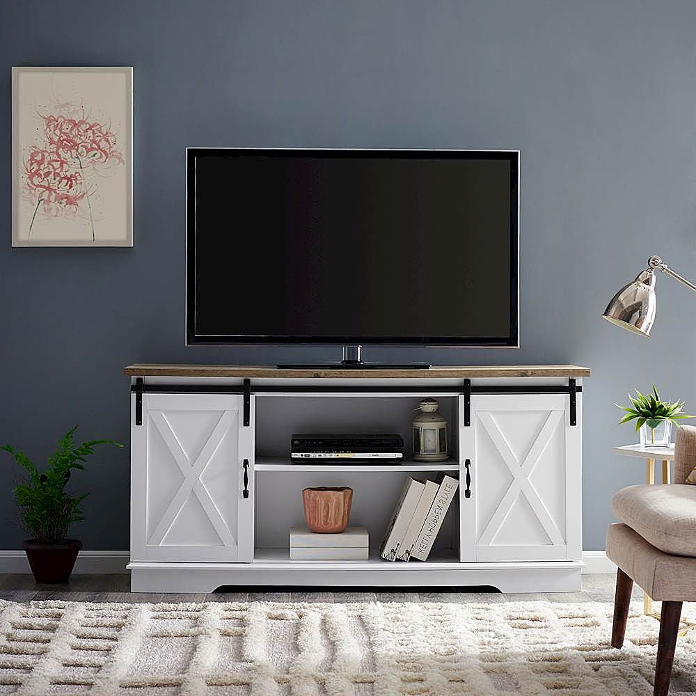 Farmhouse Sliding Barn Door Tv Stands For 70 Inch Flat Screen With Regard To Preferred Walker Edison Industrial Farmhouse Sliding Door Tv Stand (View 2 of 10)
