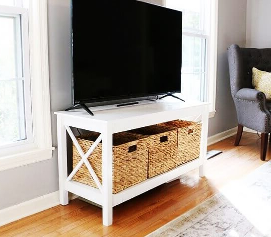 """Farmhouse Tv Stands For 75"""" Flat Screen With Console Table Storage Cabinet Within Most Up To Date 21 Affordable Diy Tv Stand Ideas You Can Build In A Weekend (View 6 of 10)"""