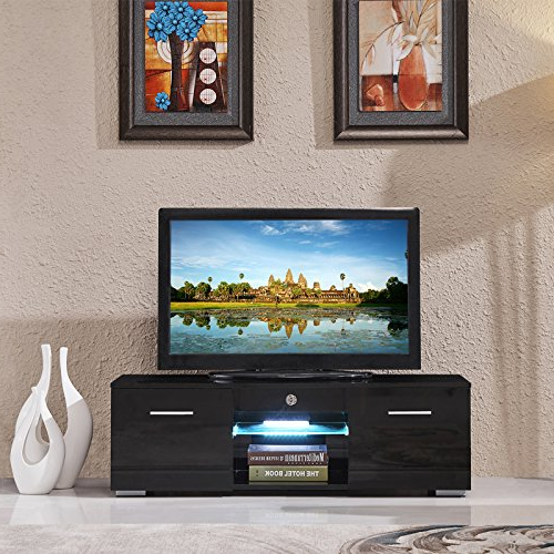 """Fashionable 47"""" Tv Stands High Gloss Tv Cabinet With 2 Drawers In Suncoo Tv Stand Media Console Cabinet Led Shelves With  (View 2 of 10)"""