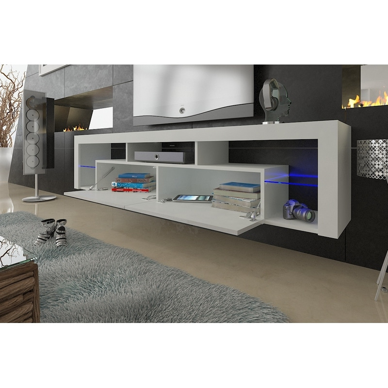 """Fashionable 57'' Led Tv Stands Cabinet Within Milano 200 Wall Mounted Floating 79"""" Tv Stand With  (View 2 of 10)"""