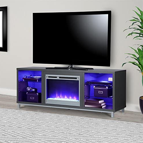 """Fashionable Ameriwood Home Rhea Tv Stands For Tvs Up To 70"""" In Black Oak Pertaining To Ameriwood Home Lumina Fireplace Stand For Tvs, Up To  (View 2 of 10)"""