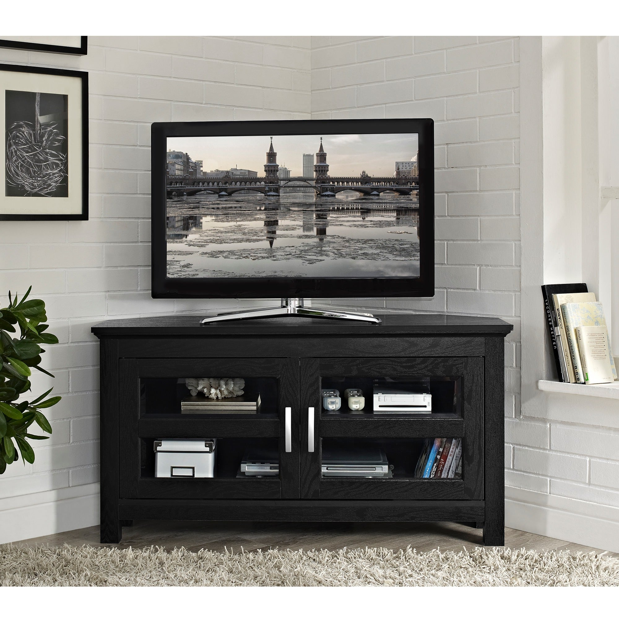 Fashionable Black Wood 44 Inch Corner Tv Stand – Overstock Shopping Pertaining To Dillon Black Tv Unit Stands (View 7 of 10)