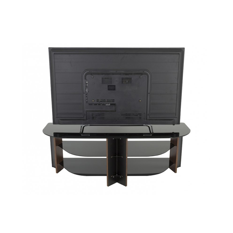 Fashionable Claudia Brass Effect Wide Tv Stands Inside King Tv Stand Wood Effect With Black Glass Shelves Lcd (View 3 of 10)