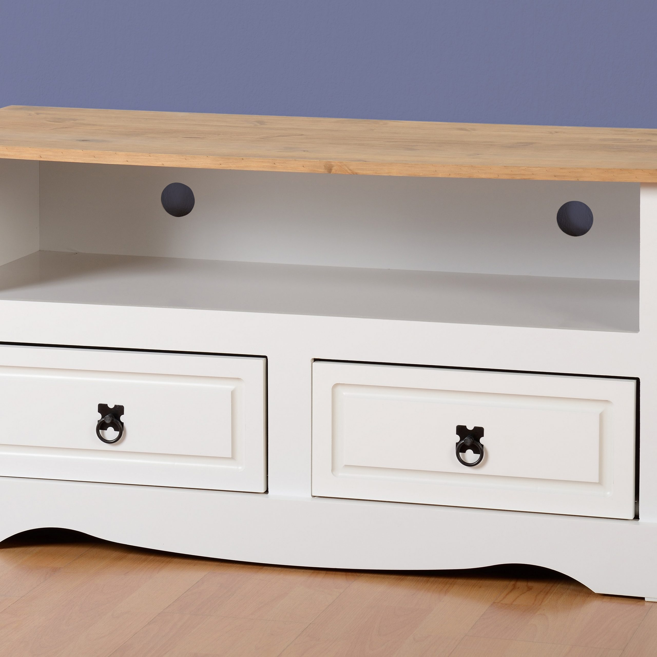 Fashionable Corona Tv Stand 2 Drawer White & Distressed Waxed Pine Inside Corona Tv Stands (View 7 of 10)
