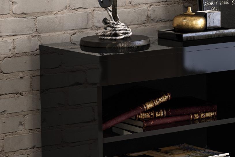 Fashionable Edgeware 1 Door 2 Drawer Sideboard Black – Niture Uk For Edgeware Tv Stands (View 22 of 25)