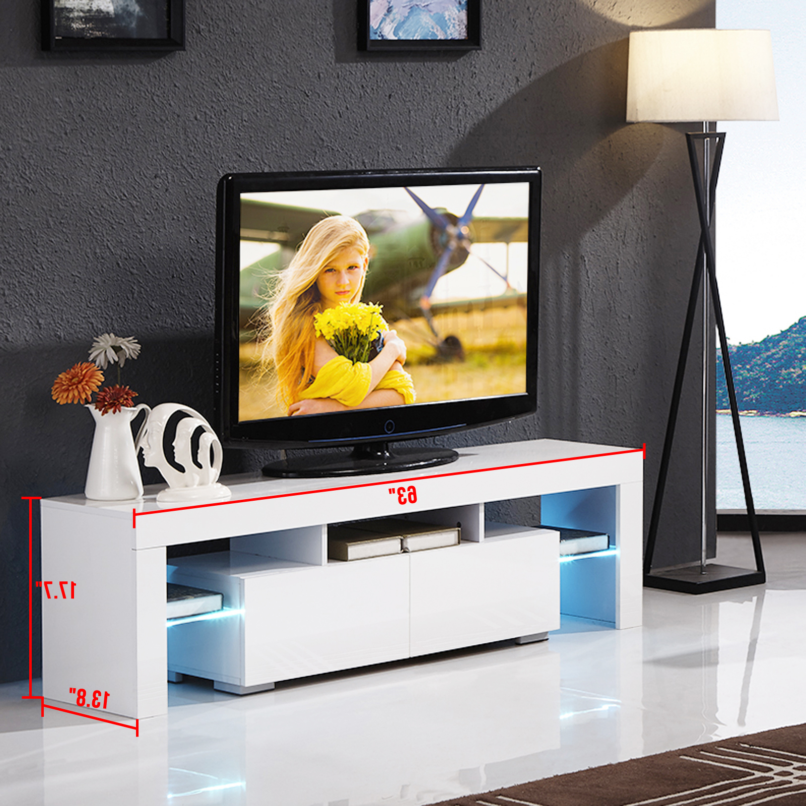 Fashionable High Gloss White Tv Stand Unit Cabinet W/led Shelves 2 Intended For Tv Stands With 2 Open Shelves 2 Drawers High Gloss Tv Unis (View 1 of 10)