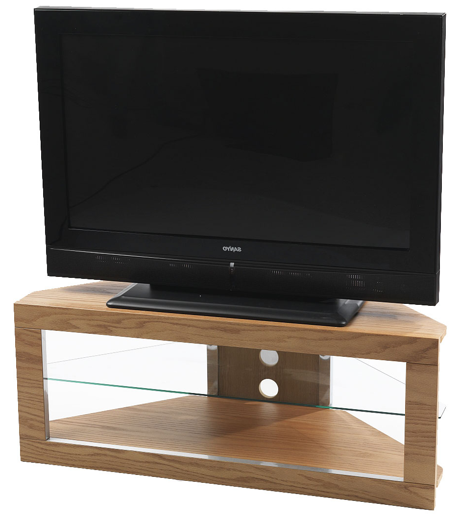Fashionable Iconic Lindi Tx7000 Oak Corner Tv Stand For Screens Up To For Priya Corner Tv Stands (View 17 of 25)