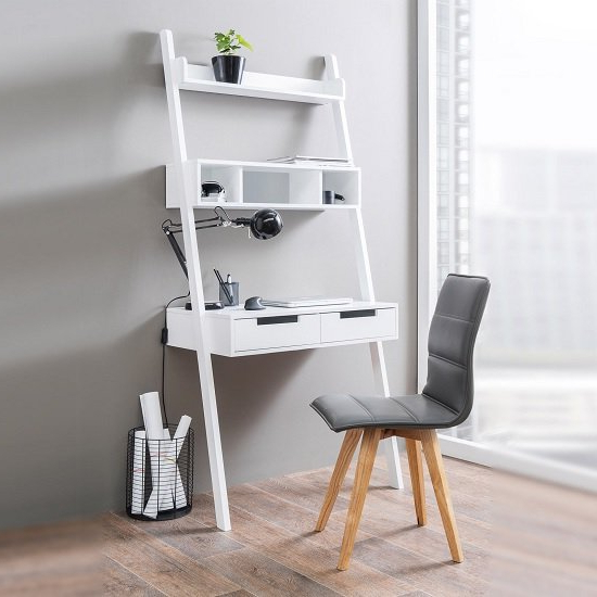 Fashionable Kristina Retro Ladder Style Computer Desk In White With Throughout Tiva White Ladder Tv Stands (View 9 of 10)
