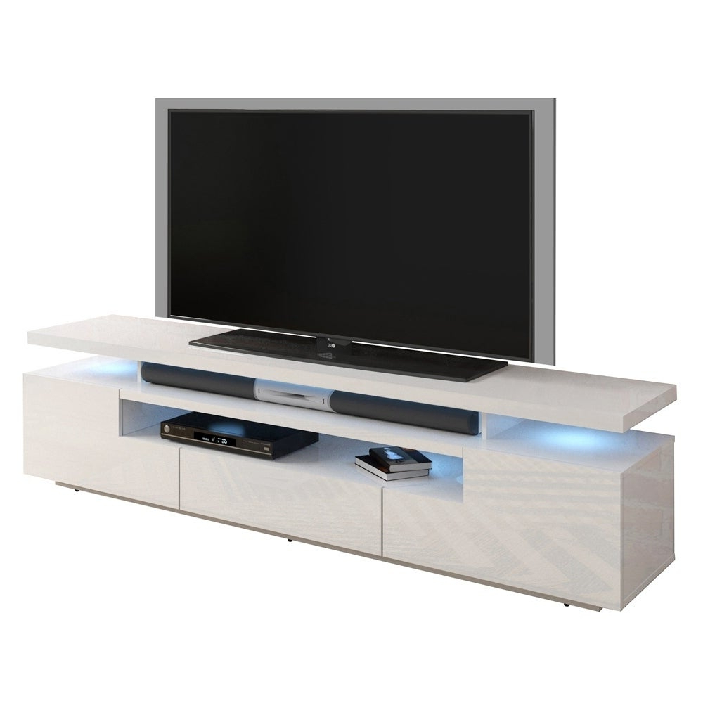 Fashionable Ktaxon Modern High Gloss Tv Stands With Led Drawer And Shelves Within Handys Canby 77 Inch High Gloss Tv Stand With Led Lights (View 1 of 10)