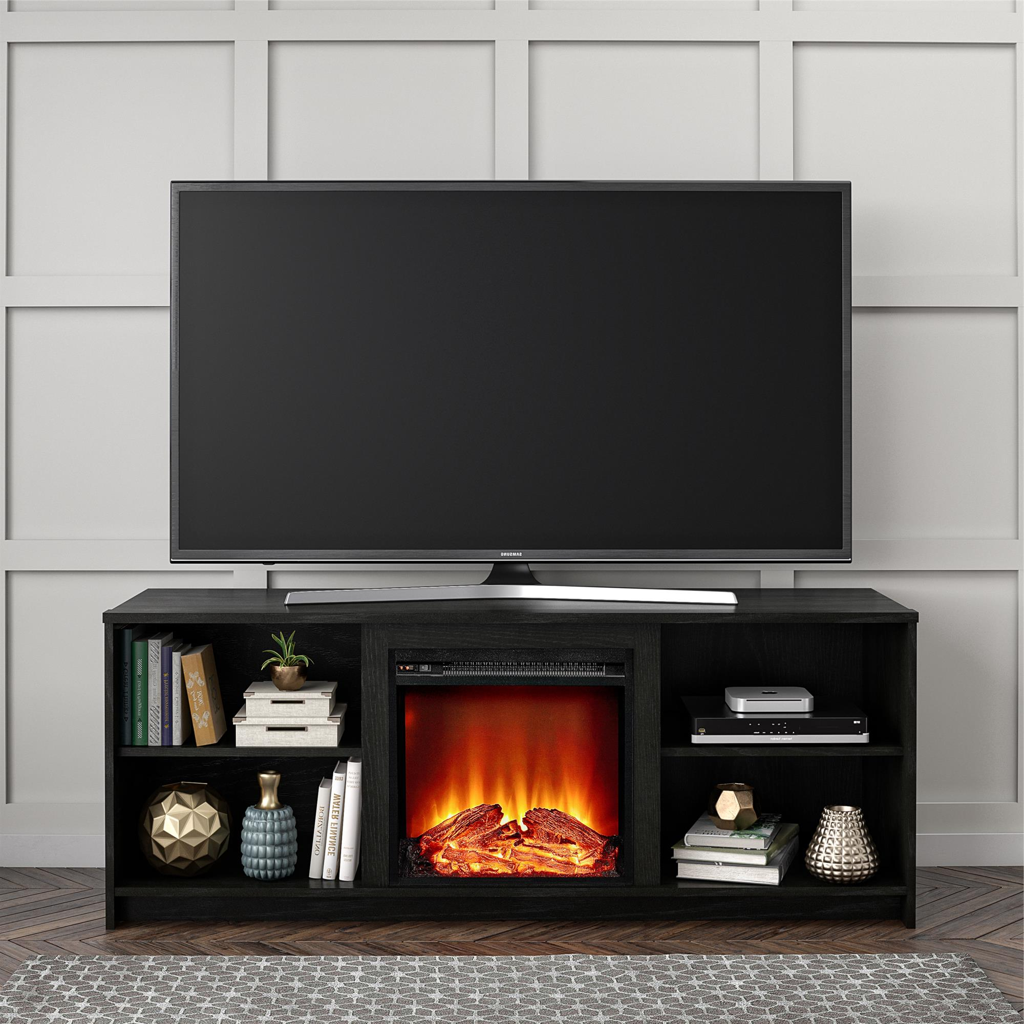 """Fashionable Mainstays Fireplace Tv Stand For Tvs Up To 65"""", Black Oak Throughout Edgeware Black Tv Stands (View 9 of 10)"""