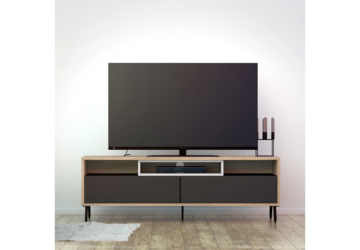 Fashionable Match Tv Unit 2 Drawers W/ Media Compartment Inside Scandi 2 Drawer Grey Tv Media Unit Stands (View 5 of 10)