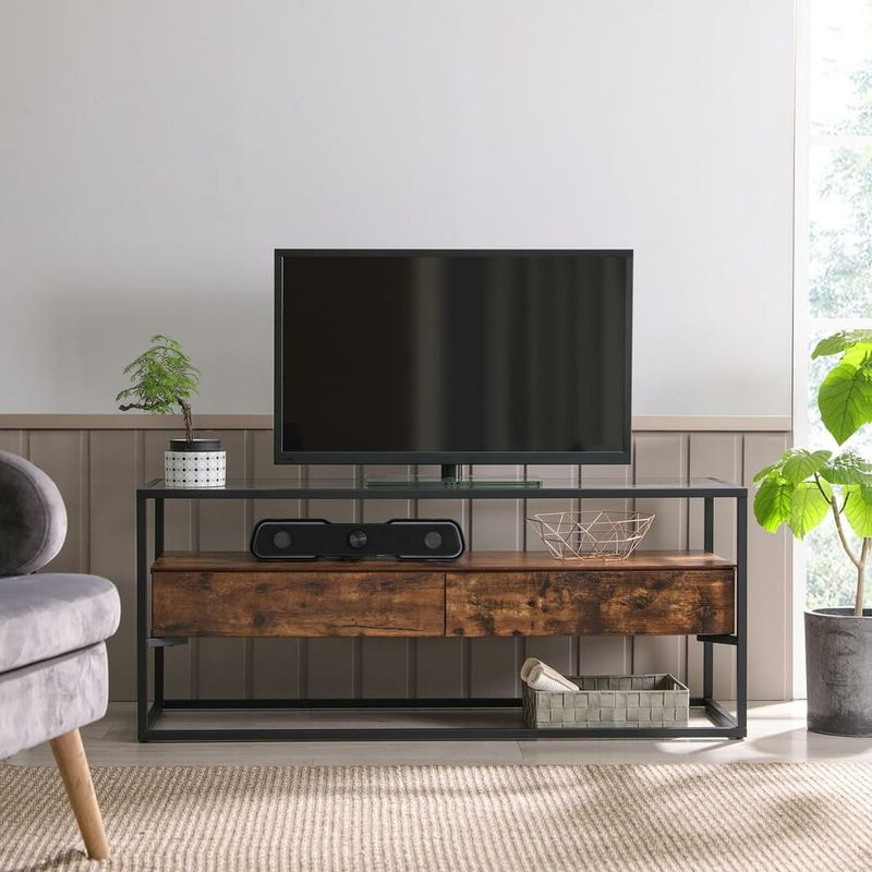 Fashionable Vasagle Tv Cabinet For Up To 55 Inch Tvs, Tv Console With Pertaining To Tv Stands Cabinet Media Console Shelves 2 Drawers With Led Light (View 2 of 10)