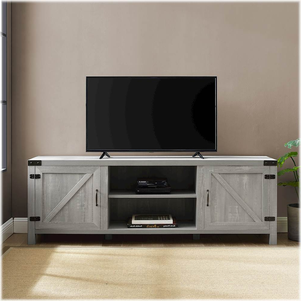Fashionable Walker Edison Farmhouse Barn Door Tv Stand For Most Tvs Up With Regard To Farmhouse Sliding Barn Door Tv Stands For 70 Inch Flat Screen (View 1 of 10)