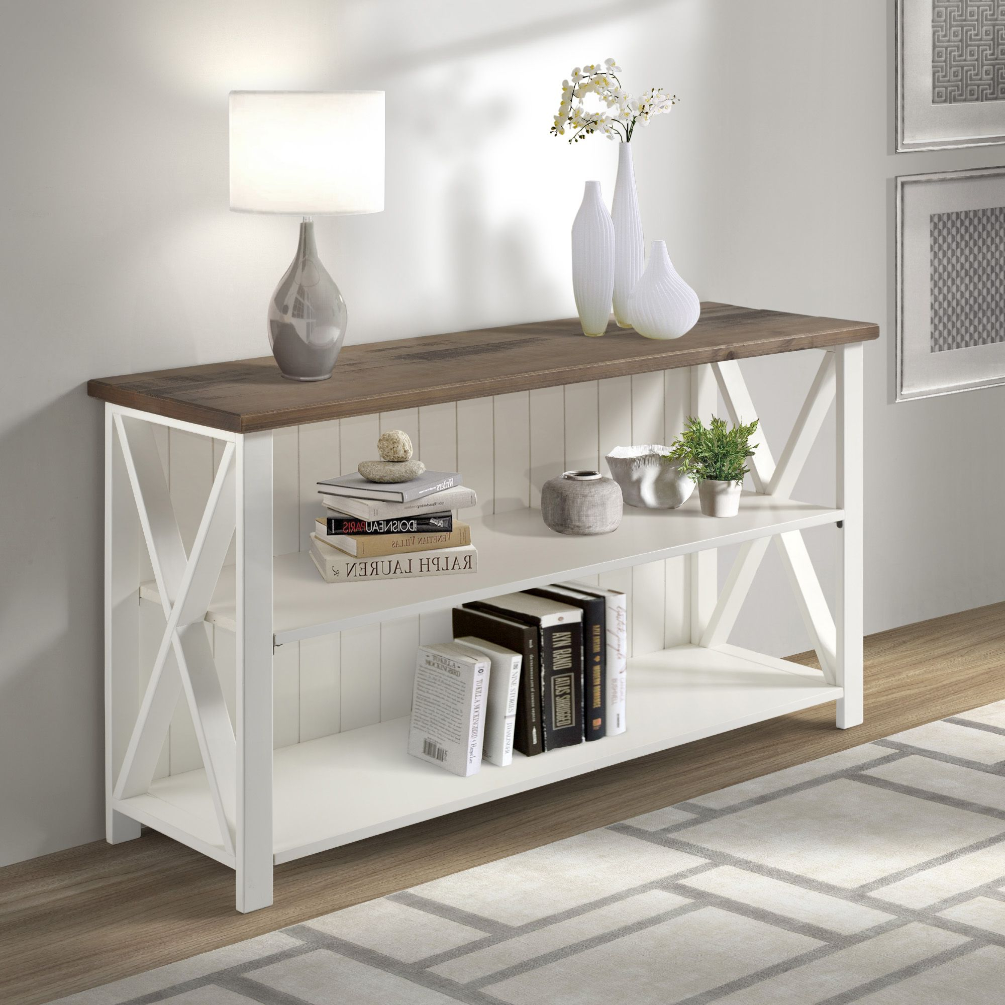 Fashionable Woven Paths Farmhouse Sliding Barn Door Tv Stands With Multiple Finishes Inside Woven Paths Solid Wood Storage Console Table, White (View 6 of 10)
